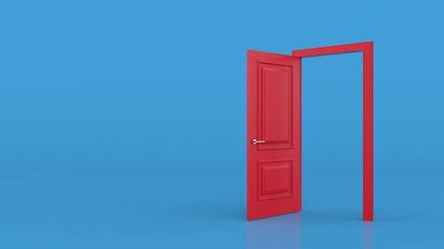 Red door open entrance in blue background room