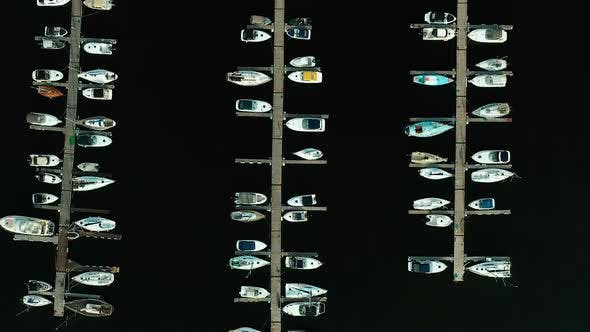 Thumbnail for Close-up, Boats Are Moored at the Boat Station. View From a Copter, Seaport, Boat Station, Boats Are