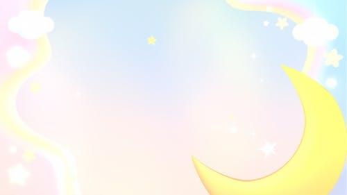 Pastel Moon Paper Art Sky