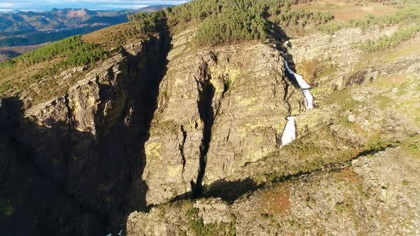Rocky Canyon With a Waterfall