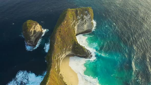 Cover Image for Kelingking Beach with Blue Sea at Nusa Penida Island, Bali, Indonesia, Aerial View