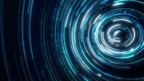 Blue Neon Circles Abstract Futuristic Hi-tech Motion Background