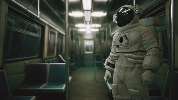 Thumbnail for Astronaut Inside of the Old Non-modernized Subway Car in USA