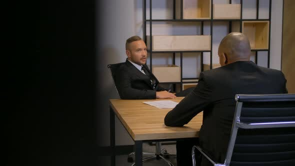 Thumbnail for Two Confident African American and Caucasian Bussines People in Boardroom.