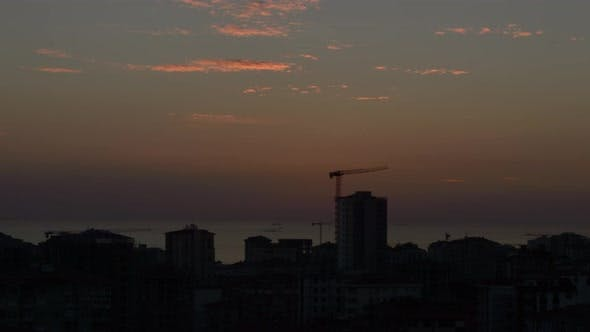 Thumbnail for Time lapse of high angle view city scenery at sunset in Kadikoy, Istanbul, Turkey
