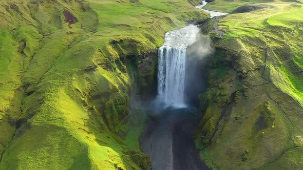 Thumbnail for Skogafoss Waterfall Iceland From the Air