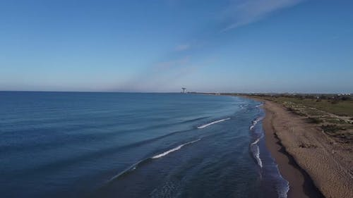Sea Coastline in Sunny Weather Shooting From the Height of the Drone Flight