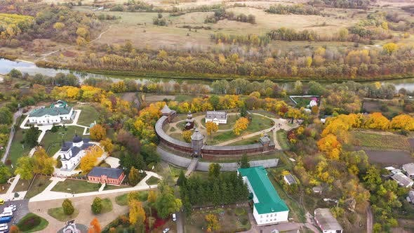 Aerial Panoramic View of Ukraine Wooden Fortress in Baturin