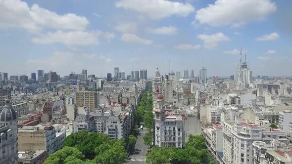 Aerial Drone view Of Buenos Aires, Avenida de Mayo Cityscape
