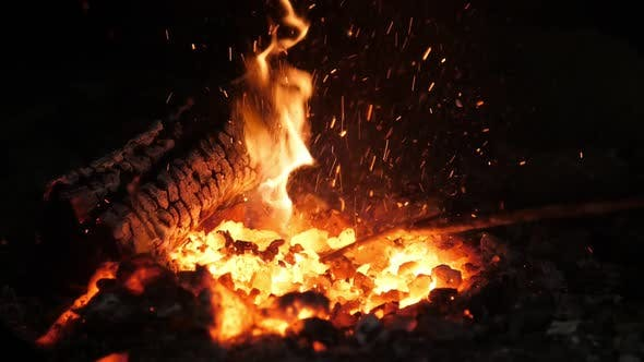 Thumbnail for Magic Hearth Fire with a Tongue Looking Like a Spirit of an Animal in a Smithy