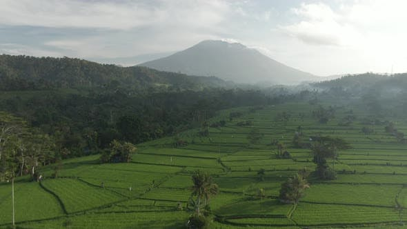 Aerial View Of Volcano Agung In Sidemen, Bali, Indonesia. Picturesque Tropical Landscape