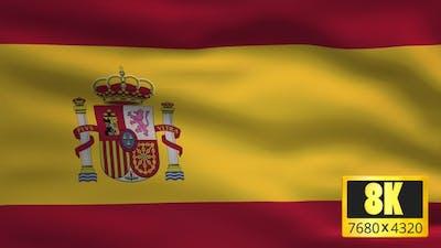 8K Spain Windy Flag Background