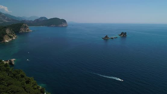 Aerial View of a Beautiful Island with Church in the Adriatic Sea