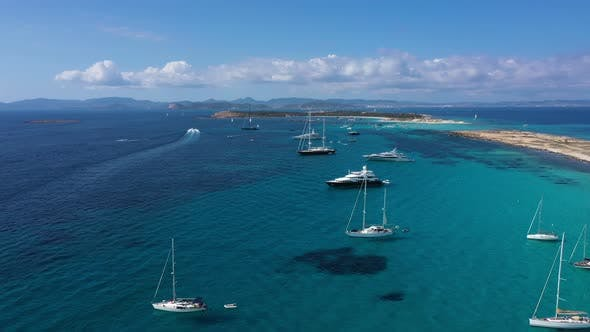 Aerial View Over Clear Beach Turquoise Water Formentera Ibiza