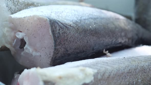 Thumbnail for Freshly Frozen Gray Fish Thawed in White Iron Plate