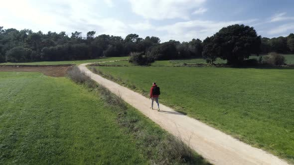 Thumbnail for Lonely Hiker Walking On Country Road