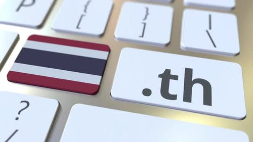 Thai Domain .Th and Flag of Thailand on the Keyboard
