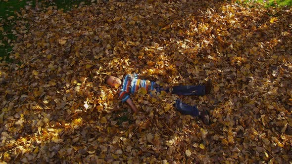 Thumbnail for Junger Junge spielt in Herbstblättern. Aufgenommen auf RED EPIC für hohe Qualität 4K, UHD, Ultra HD Auflösung.