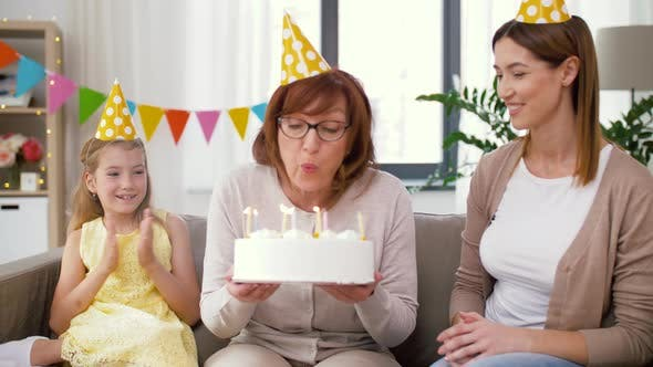 Thumbnail for Mother, Daughter, Grandmother with Birthday Cake