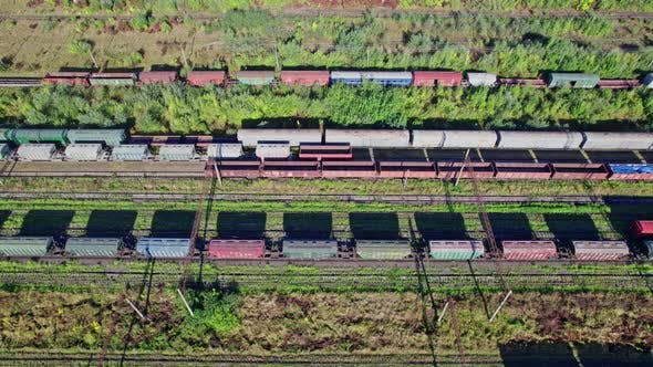 Colorful Freight Trains on the Railway Station