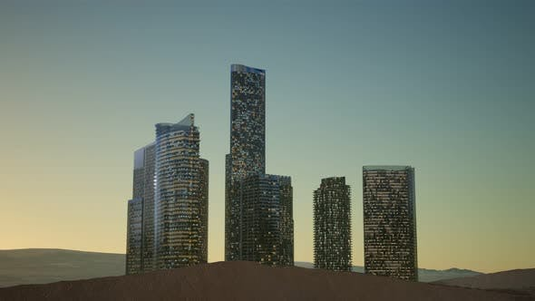 Thumbnail for City Skyscrapers at Night in Desert
