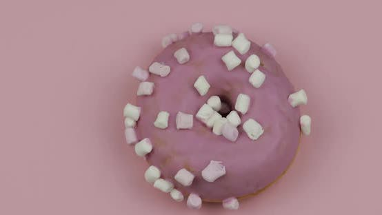 Thumbnail for Sweet Donut Rotating on Pink Background