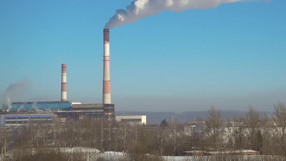 Thumbnail for Thermal Power Station in Winter, Zooming