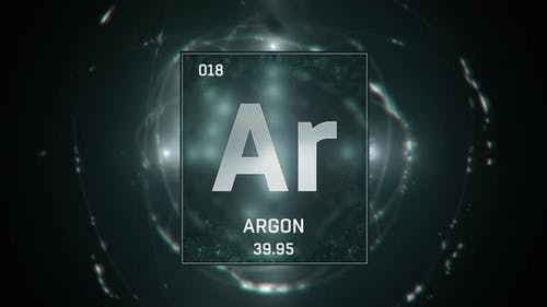 Argon as Element 18 of the Periodic Table On Green Background