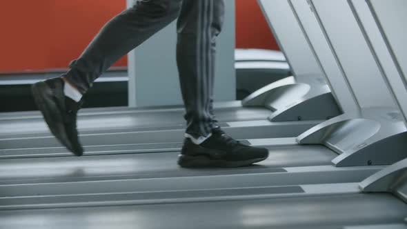 Cover Image for Sportsman Walking on a Treadmill in the Gym