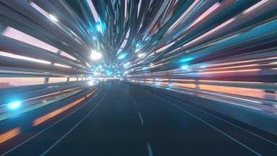 Flying in a Futuristic Fiber Optic Tunnel with a Road