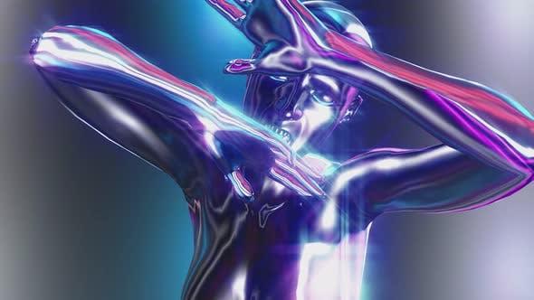 4K Retrofuturistic metallic woman