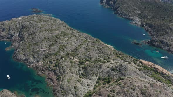 Thumbnail for Aerial Shot of Spanish Rocky Capes with Blue Bays