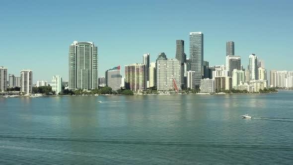 Aerial establishing shot of Brickell Miami FL