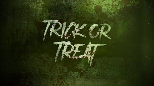 Animationstext Trick or Treat auf mystischen Horrorhintergrund mit dunklem Blut