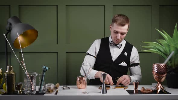 Thumbnail for The Bartender Prepares His Desk for the Arrival of Guests. The Bar Should Have Everything You Need