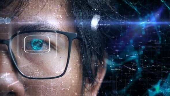 Man Wearing Glasses Access Digital Information With Eyes