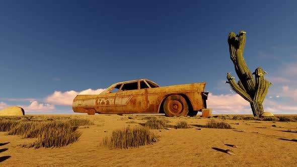 Abandoned Car on Desert