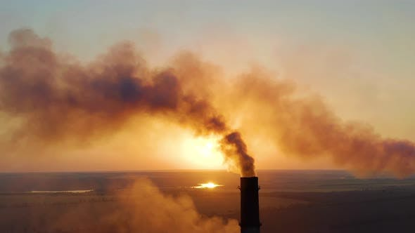 Thumbnail for Pipes with Smoke: Industrial Production, Plant. Dense Smoke Comes From Industrial Pipes. Smoking