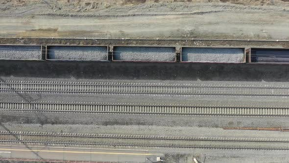 Thumbnail for Flying Over Railway Station and Railroad - Aerial View. Top View Railway with Many Tracks.