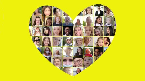 Heart shaped collage. Multiscreen on smiling multiethnic people. Joy, serenity, happiness.