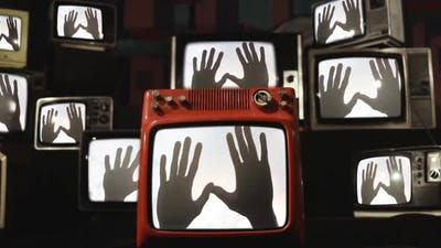 Scary Vintage TVs with Ghosty Hands on Screens.