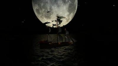 Sailboat and lunar eclipse
