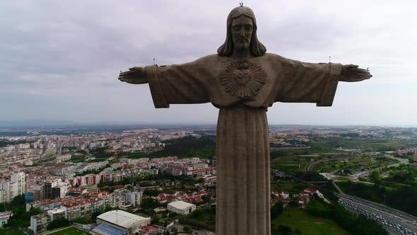 Thumbnail for Monument of Sad Jesus with Open Arms Against Lisbon City