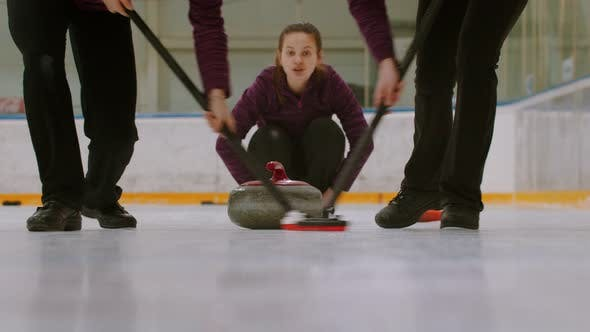 Thumbnail for Curling Training - Rubbing the Ice Before the Biter - Third Woman Watching Other Players