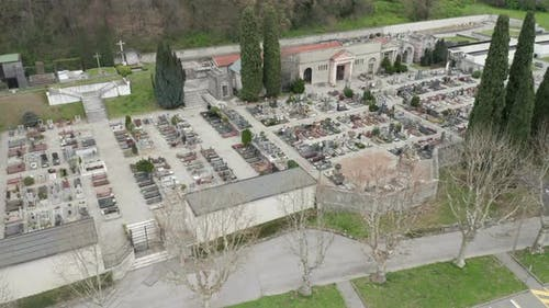 Cemetery Aerial View Cloudy Winter