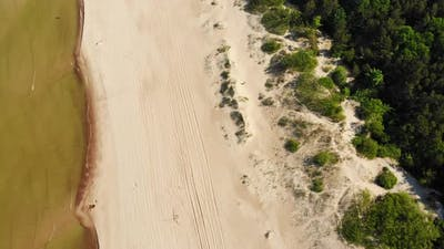 Fly Over White Sand Beach In Lithuania