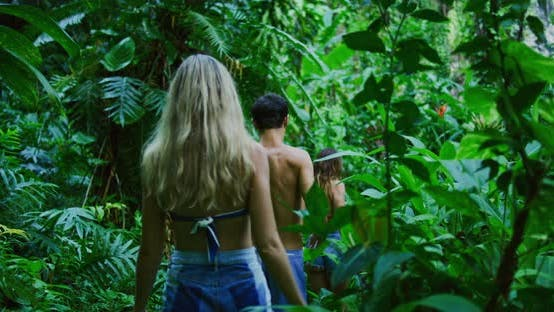 Thumbnail for Friends Hiking to Jungle Waterfall