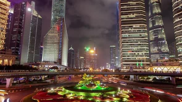 Thumbnail for Shanghai Pudong Lujiazui Night Pedestrian Bridge Timelapse