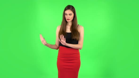 Thumbnail for Woman Strictly Gesturing with Hands Shape Meaning Denial Saying NO
