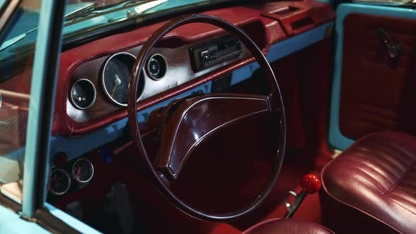 Bordeaux Interior of Vintage Car